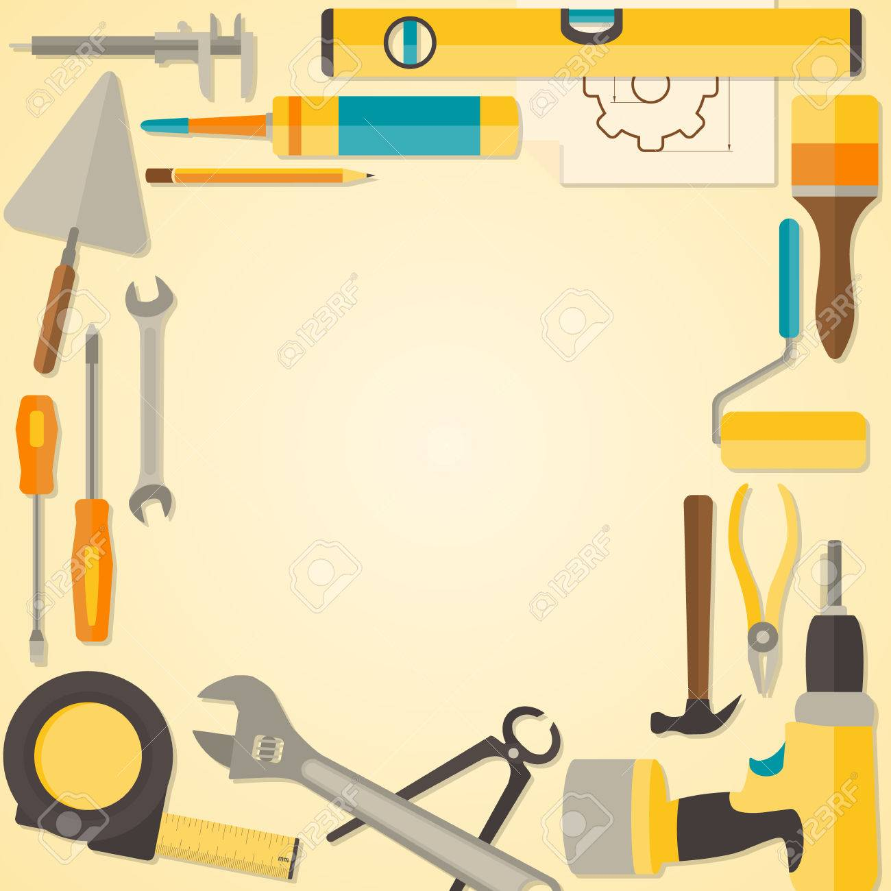 Vector flat design frame with do it yourself tools for construction vector vector flat design frame with do it yourself tools for construction and home repair web banner concept solutioingenieria Image collections
