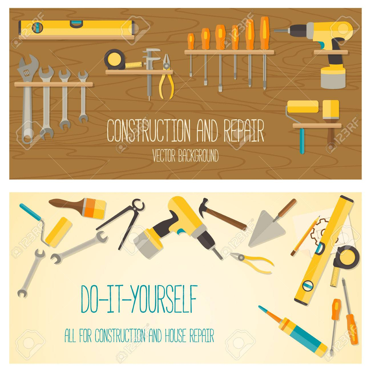 Web banner concept of diy shop vector flat design background vector web banner concept of diy shop vector flat design background with do it yourself tools for construction and home repair on wooden surface solutioingenieria Image collections