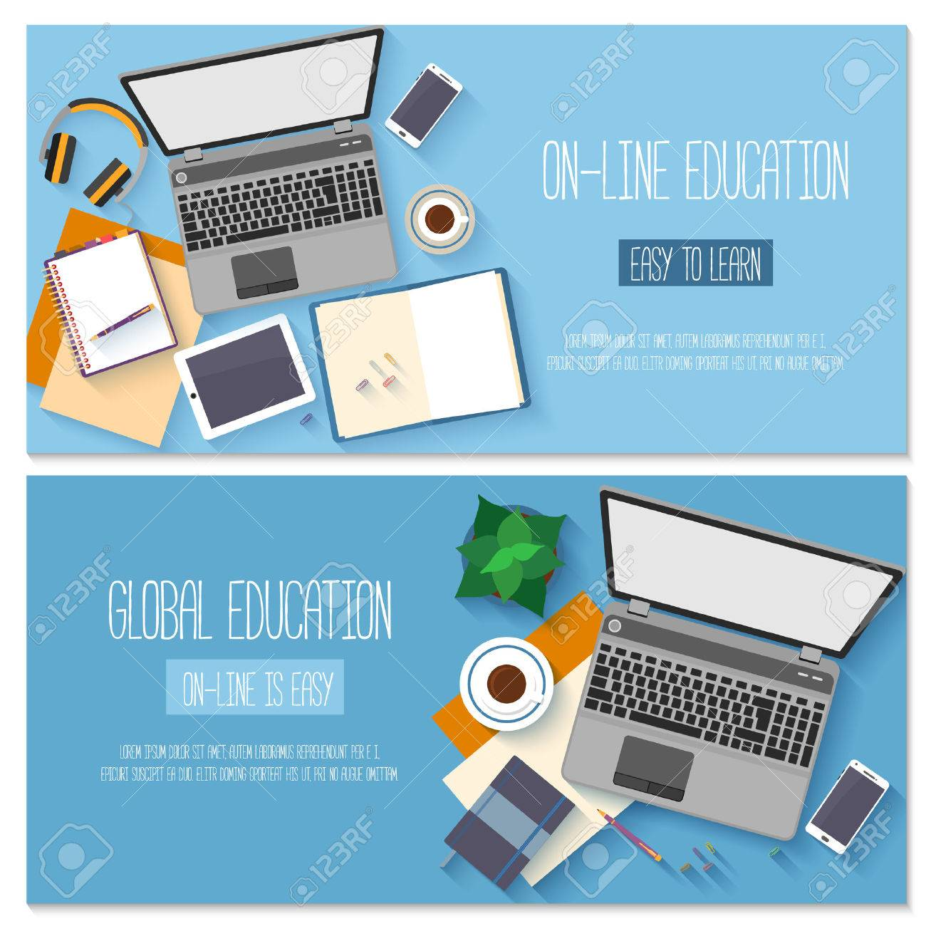 Flat design for online education, training courses, e-learning, distance trainings. Stock Vector - 46992856