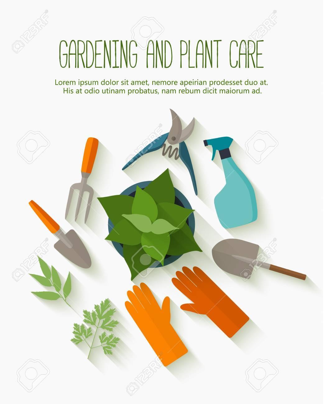 Design plat pour le jardinage et l\'entretien des plantes avec des outils de  jardin icônes isolé sur blanc avec une longue ombre.