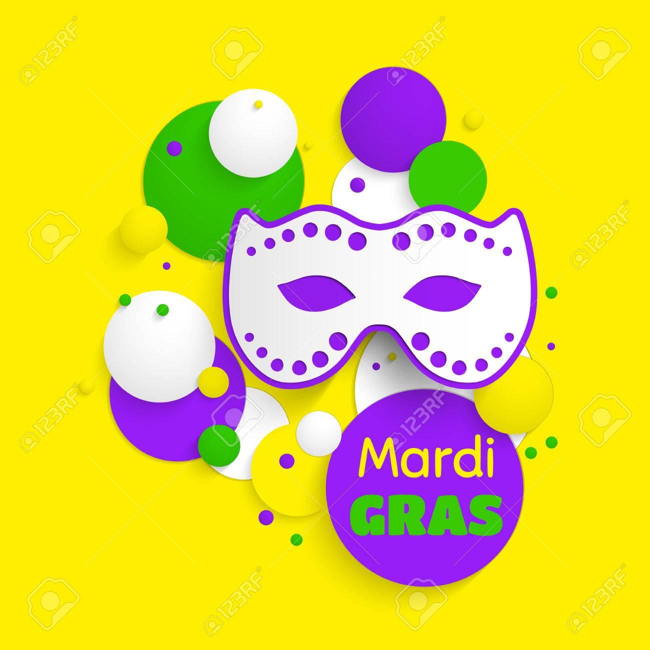 Mardi Gras Party Poster Design. Template Of Invitation, Flyer ...