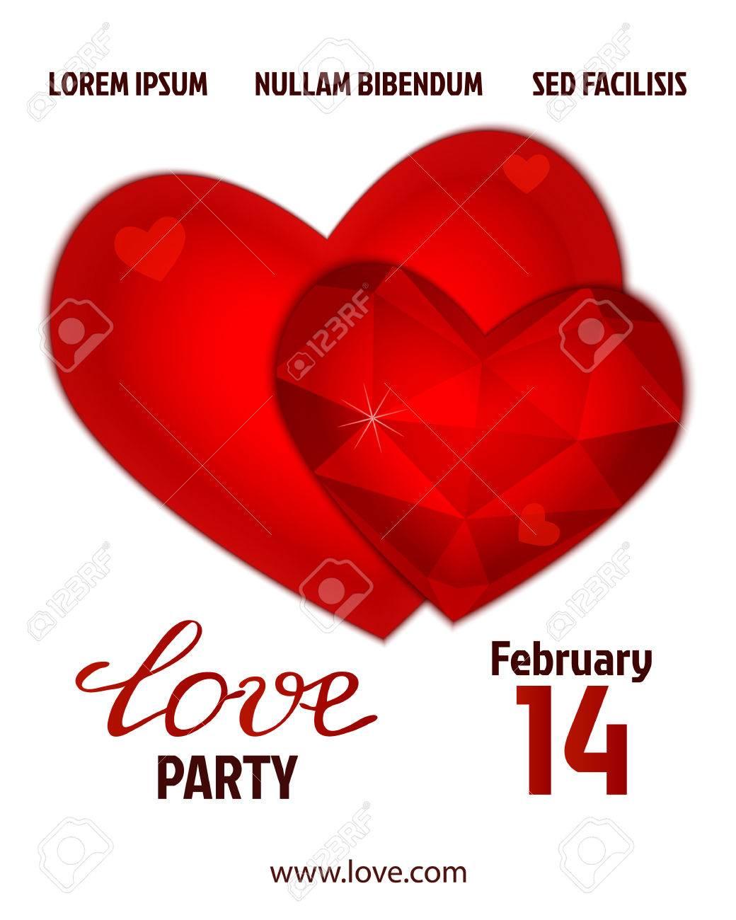 Valentines Party Plakatentwurf. Vorlage Einer Einladung, Flyer ...