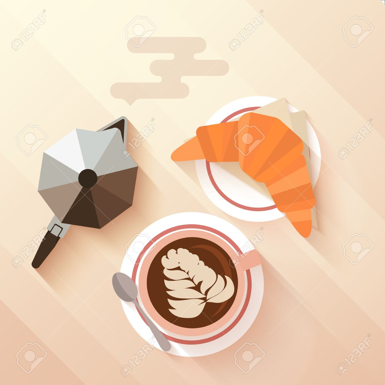 Italian Breakfast With A Cup Of Cappuccino Croissant And Coffee Maker Concept For Menu