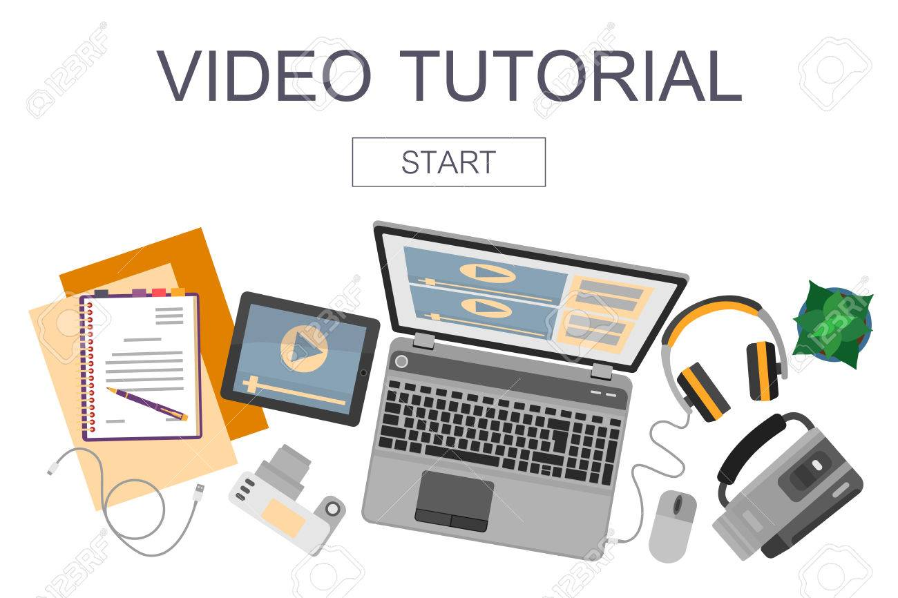 Top view of workplace with devices for video edit, tutorials and post production. - 53687863