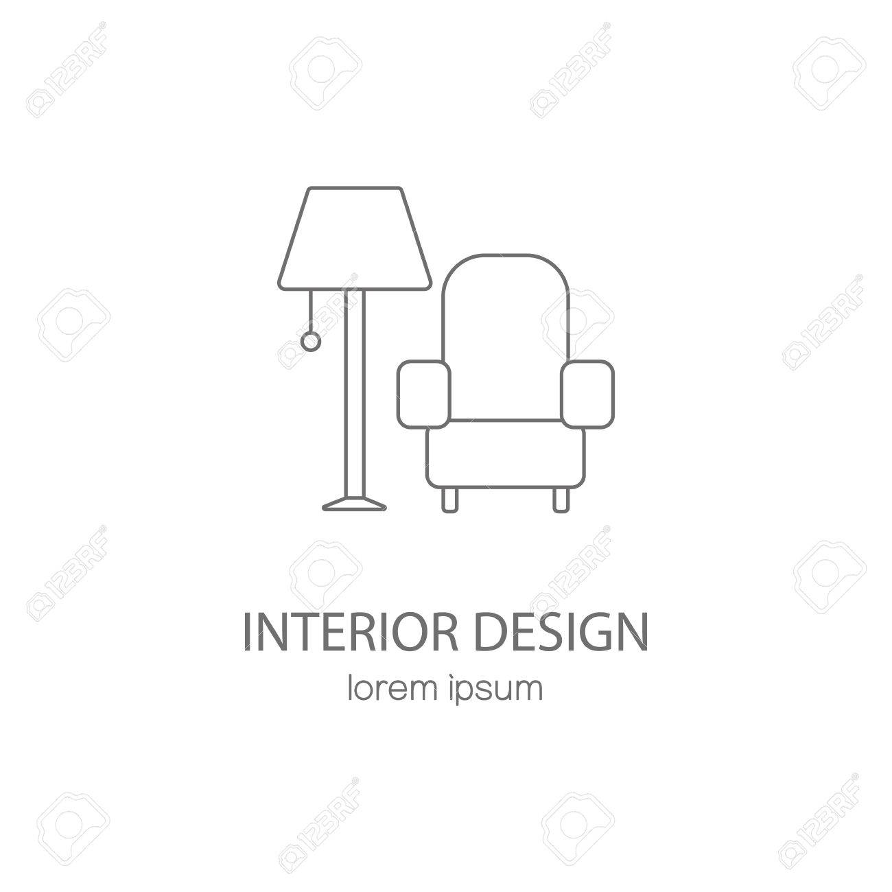 Interior Design Logotype Templates Stock Vector