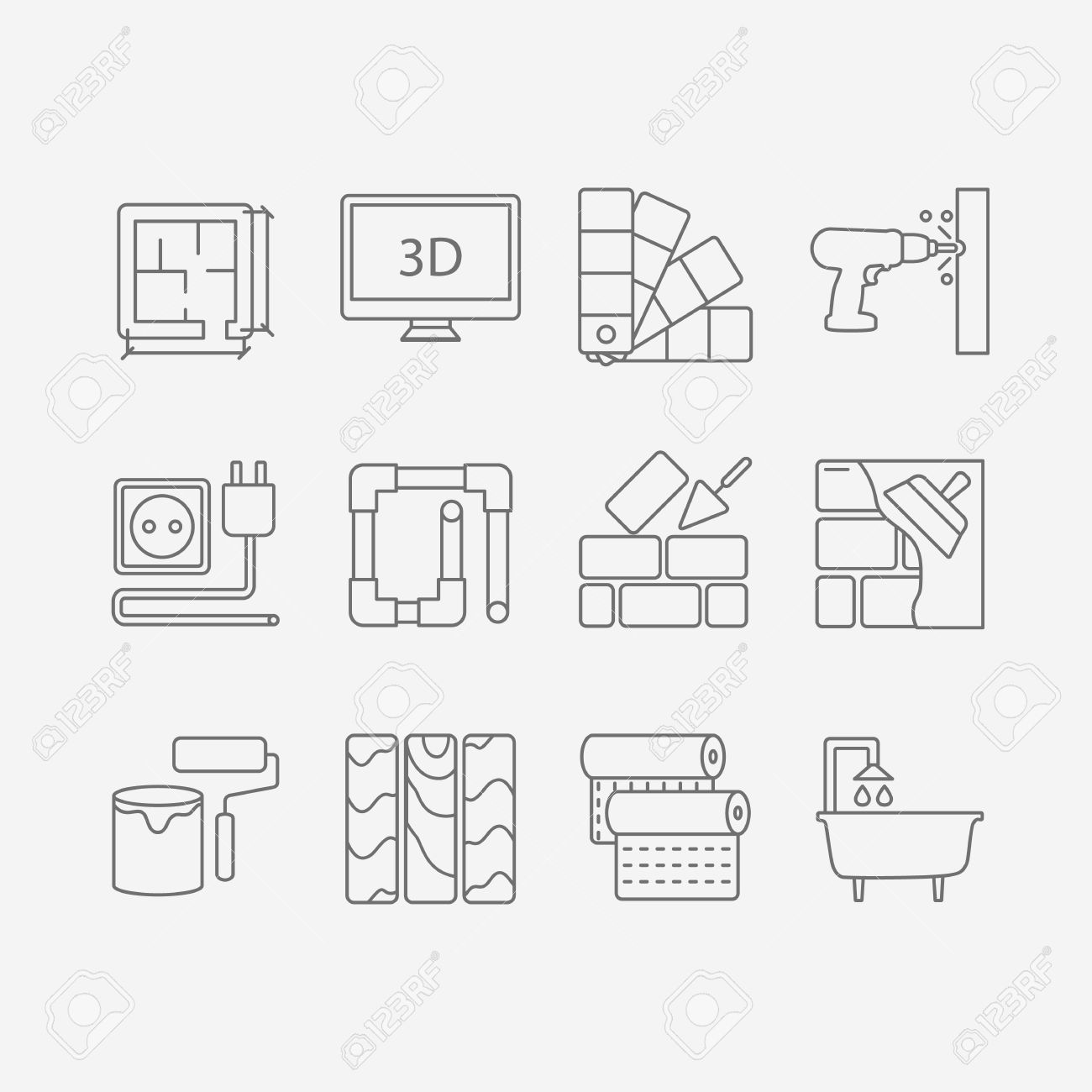 Vector Set Of Modern Flat Line Icons For Interior Design Website Includes Objects Finishing Works