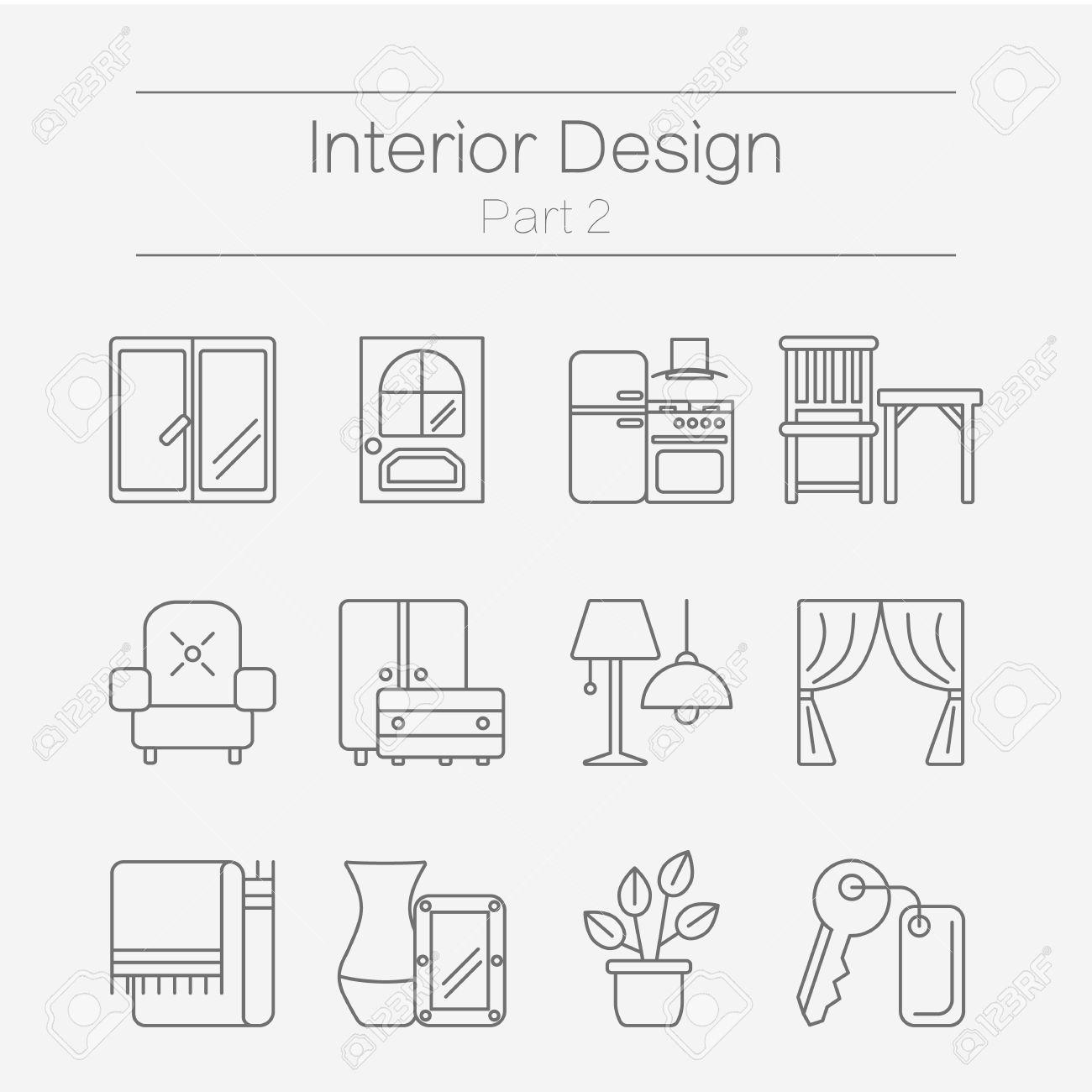 Vector Set Of Modern Flat Line Icons For Interior Design Website Includes Furniture Decor Elements