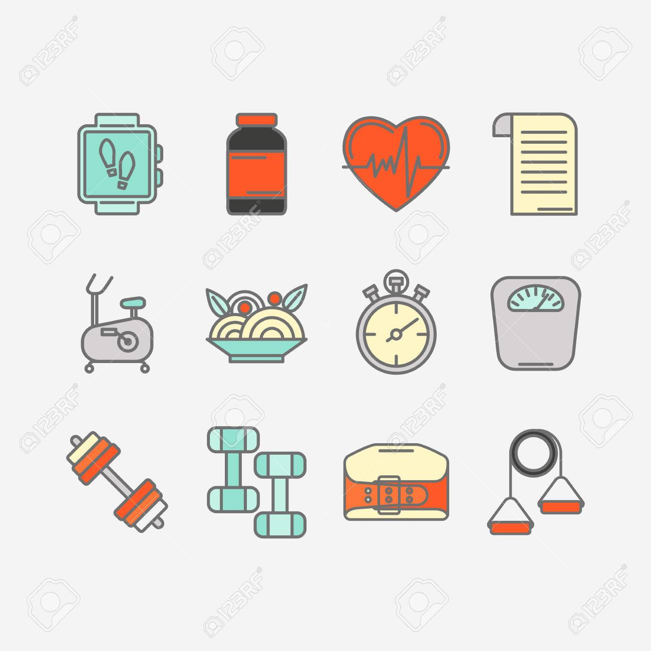 Vector set of color flat line icons for personal trainer program vector set of color flat line icons for personal trainer program includes sports equipment objects 1betcityfo Images