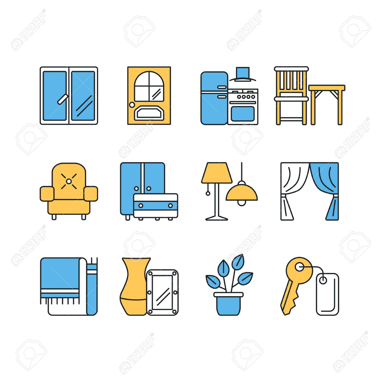 Vector Set Of Modern Flat Line Color Icons For Interior Design