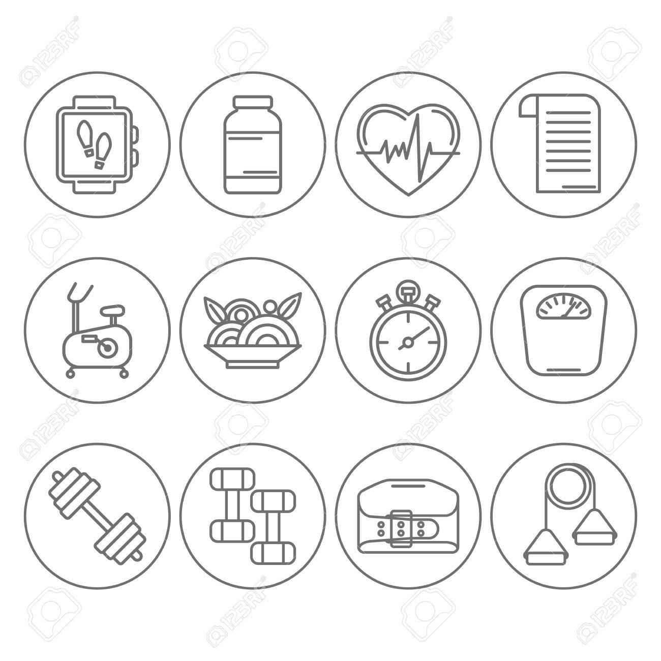 Vector set of modern flat line icons for personal trainer program vector set of modern flat line icons for personal trainer program includes sports equipment objects 1betcityfo Images