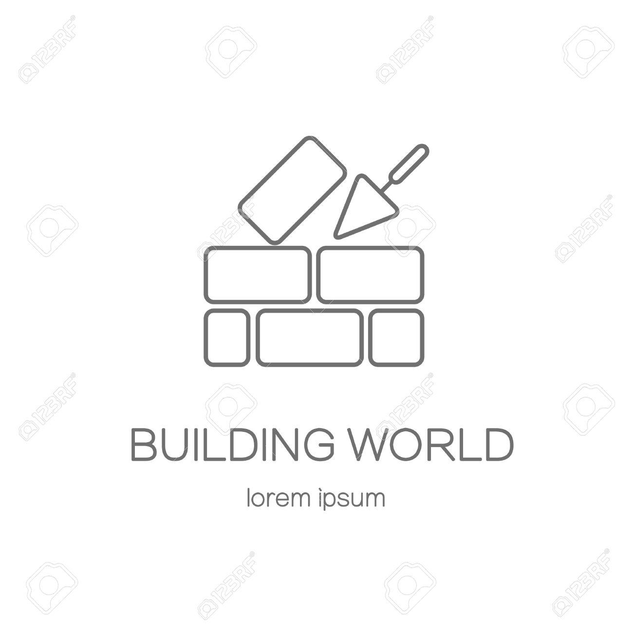 Haus-Reparatur-Logo. Zement Kelle Und Ziegelmauer Auf Weißem ...