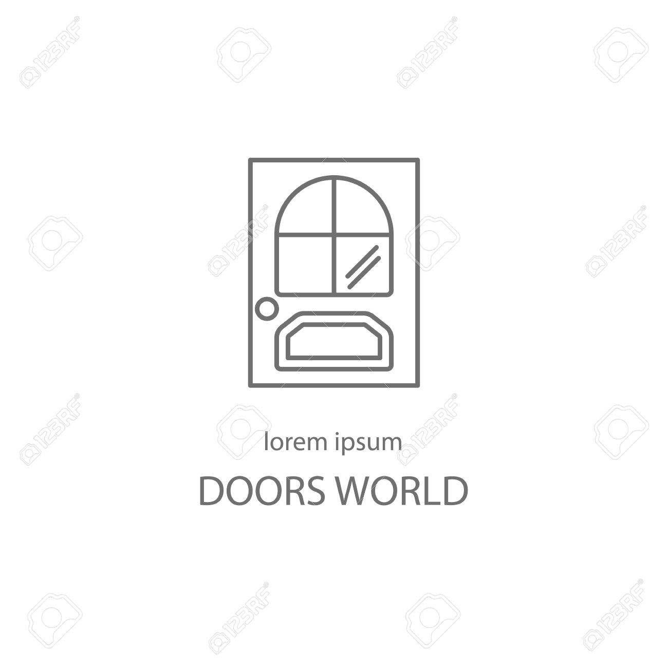 Door Line Icon Logotype Design Templates. Modern Easy To Edit ...