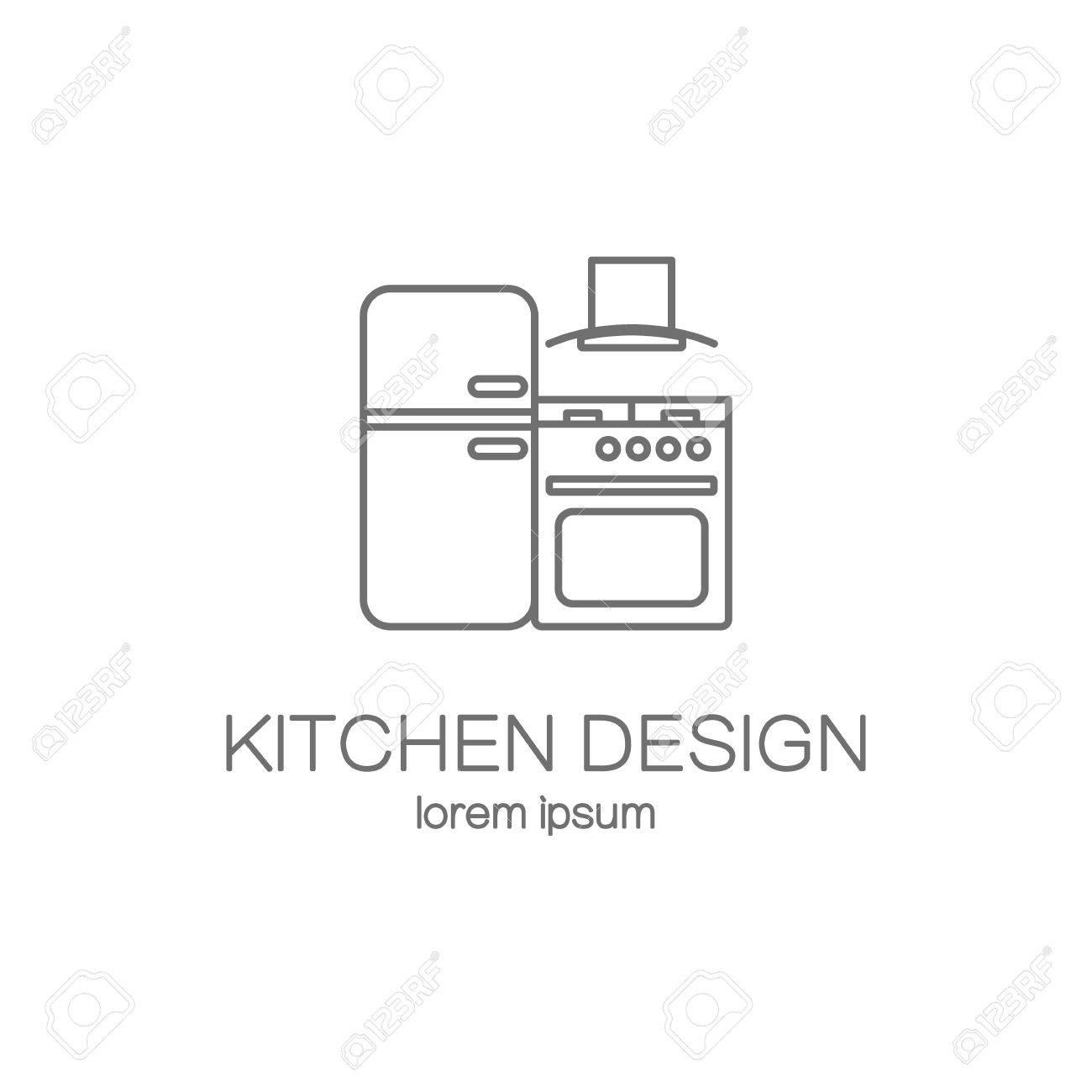 kitchen design line icon web logotype design templates modern