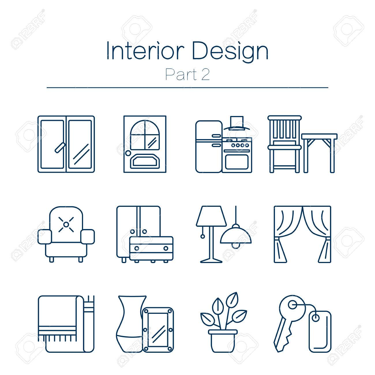 Vector Set Of Modern Flat Line Icons For Interior Design Website