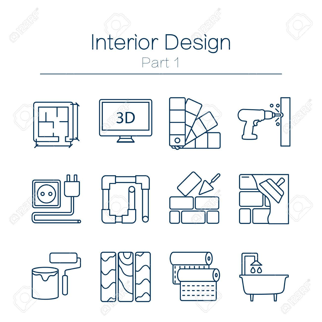 Vector set of modern flat line icons for home improvement website includes objects for finishing works, renovation and building elements . Interior design icons isolated on white. - 55968115