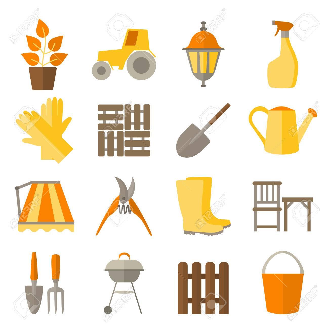Appartement conception icônes pour le jardinage et l\'entretien des plantes  comprennent des outils et bricolage pour le jardin. Set icônes isolé sur ...