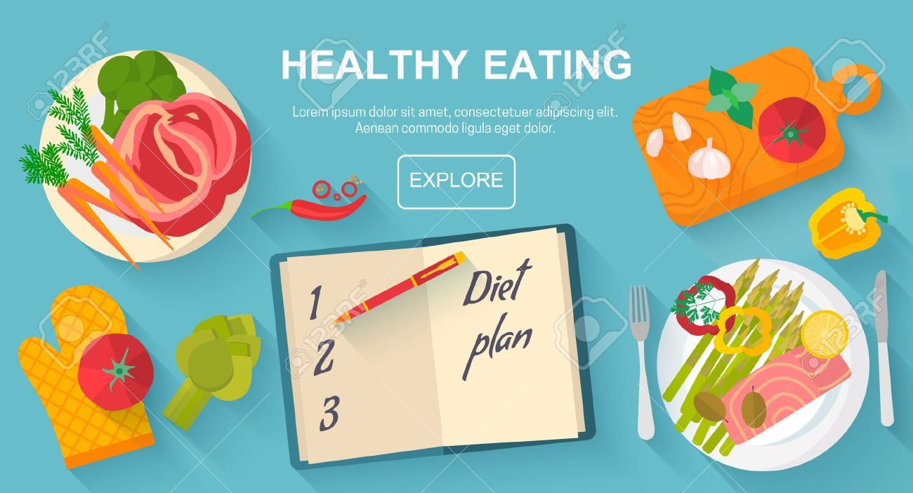 Diet And Healthy Eating Food Concept Vector Flat Design Icons