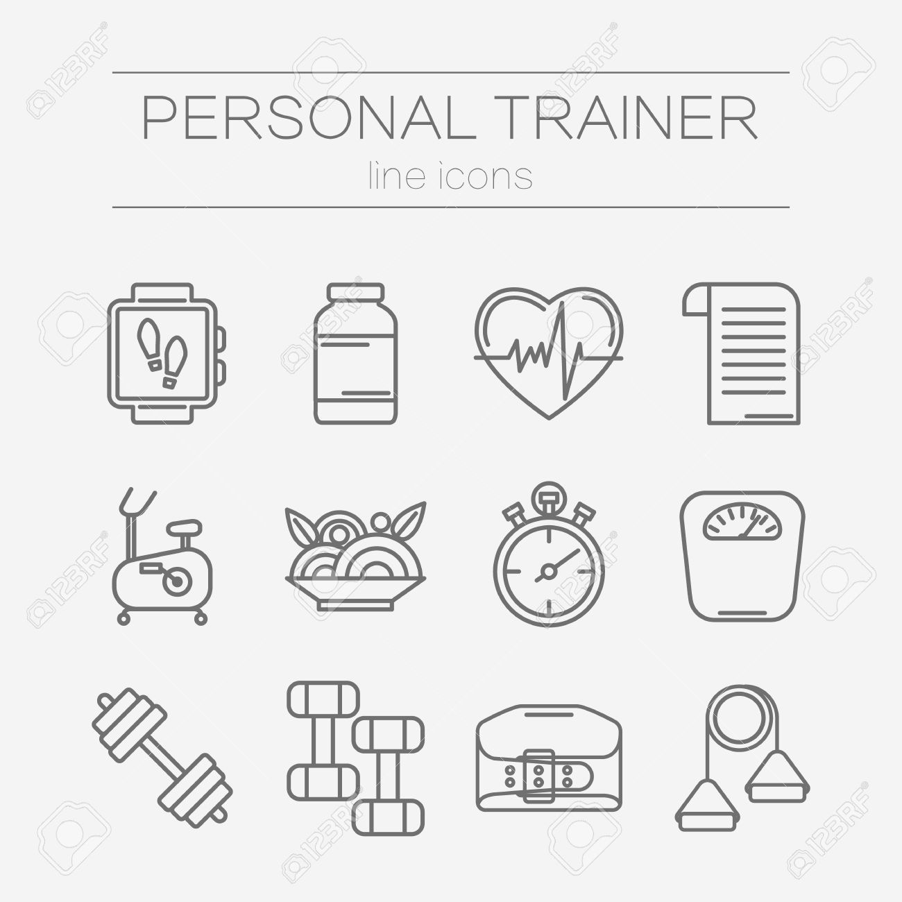 Set of modern flat line icons for personal trainer program set of modern flat line icons for personal trainer program includes sports equipment objects for 1betcityfo Images