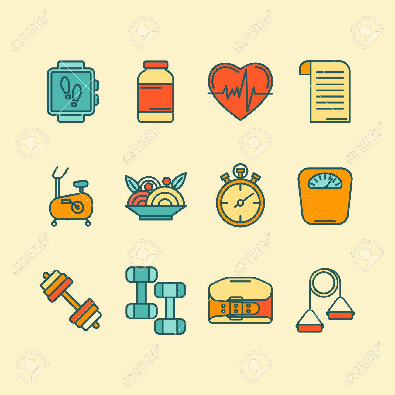 Set of color flat line icons for personal trainer program includes set of color flat line icons for personal trainer program includes sports equipment objects for 1betcityfo Images