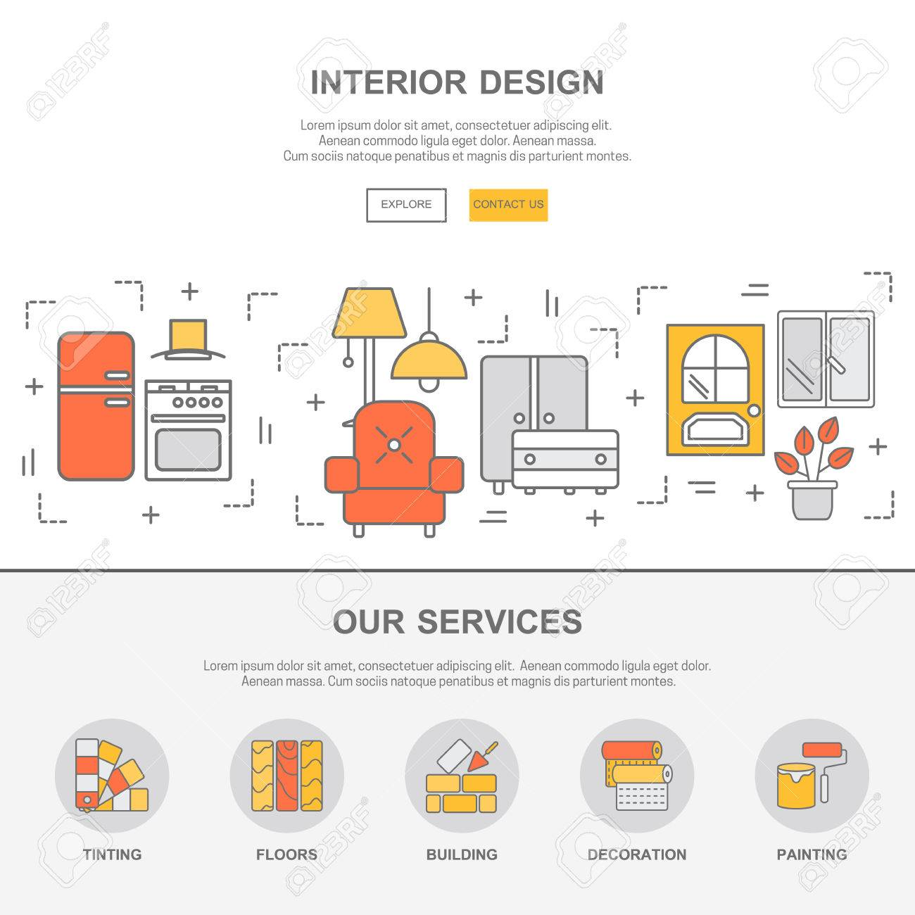 Web Design Template With Thin Line Icons Of Interior Design