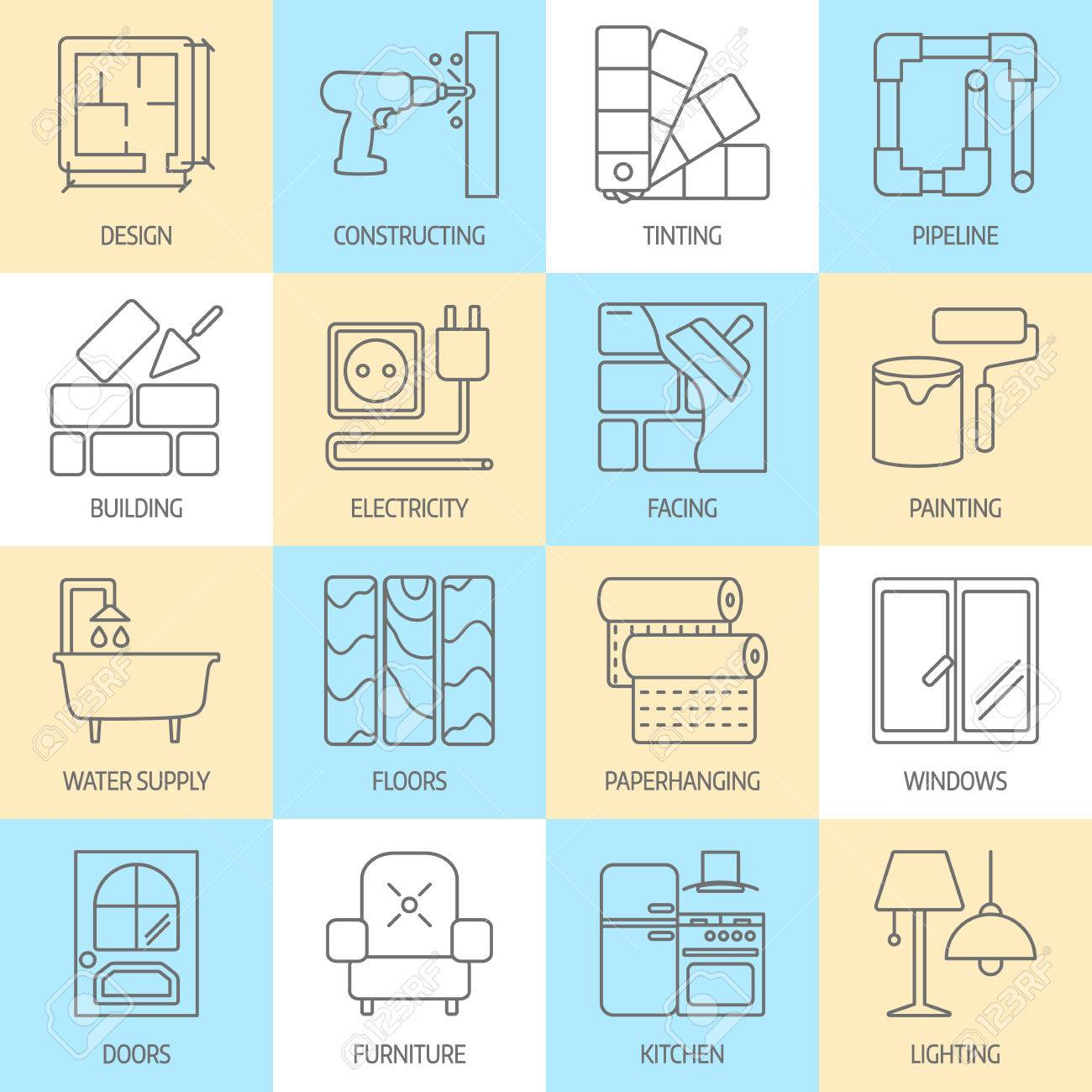 set of modern flat line icons for home improvement website includes objects for finishing works, renovation and building elements . Interior design icons isolated on white. - 60316929