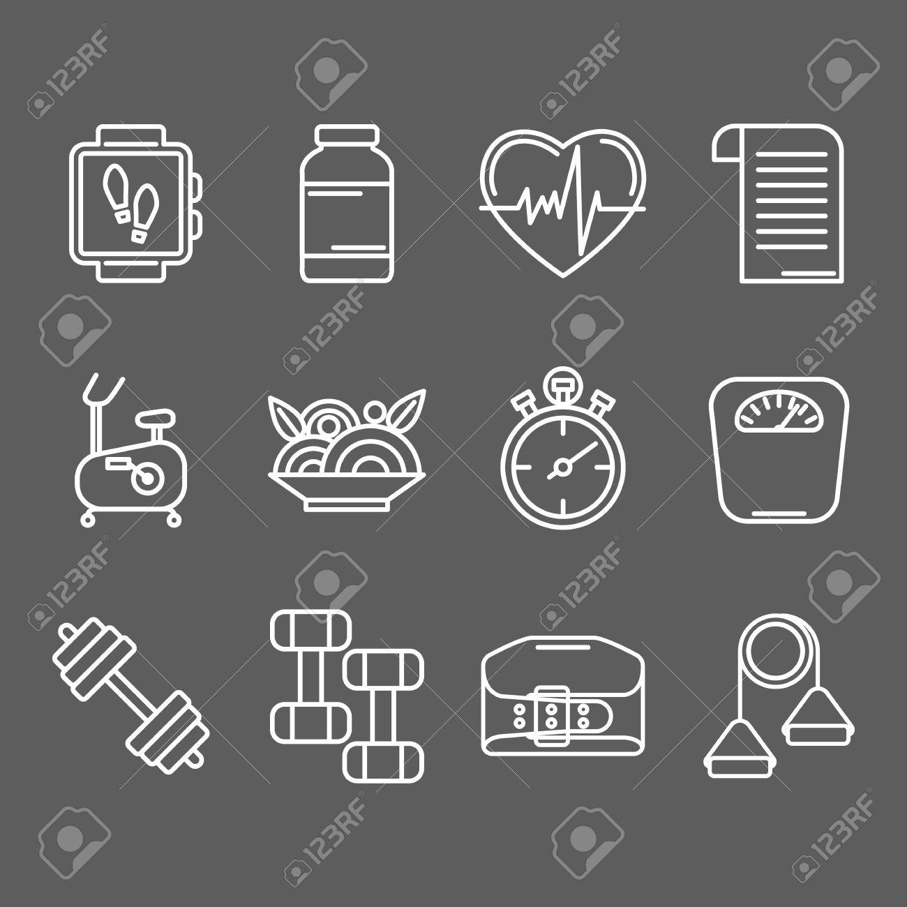 Set of line icons for personal trainer program includes sports set of line icons for personal trainer program includes sports equipment objects for gym training 1betcityfo Images