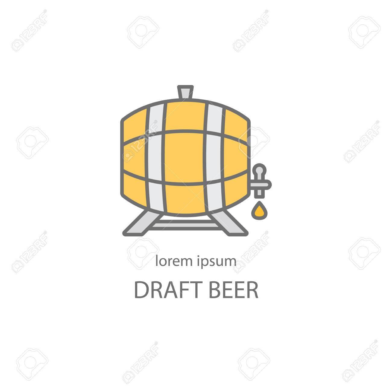 Tonneau En Bois Avec Une Icone De Ligne Du Robinet Biere Ou De