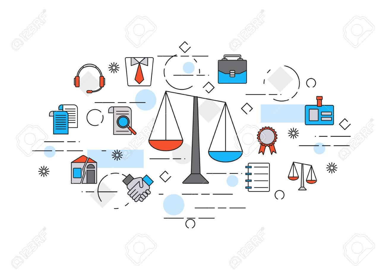 Ligne Mince Design Plat Banniere De Conseil Juridique Cabinet D