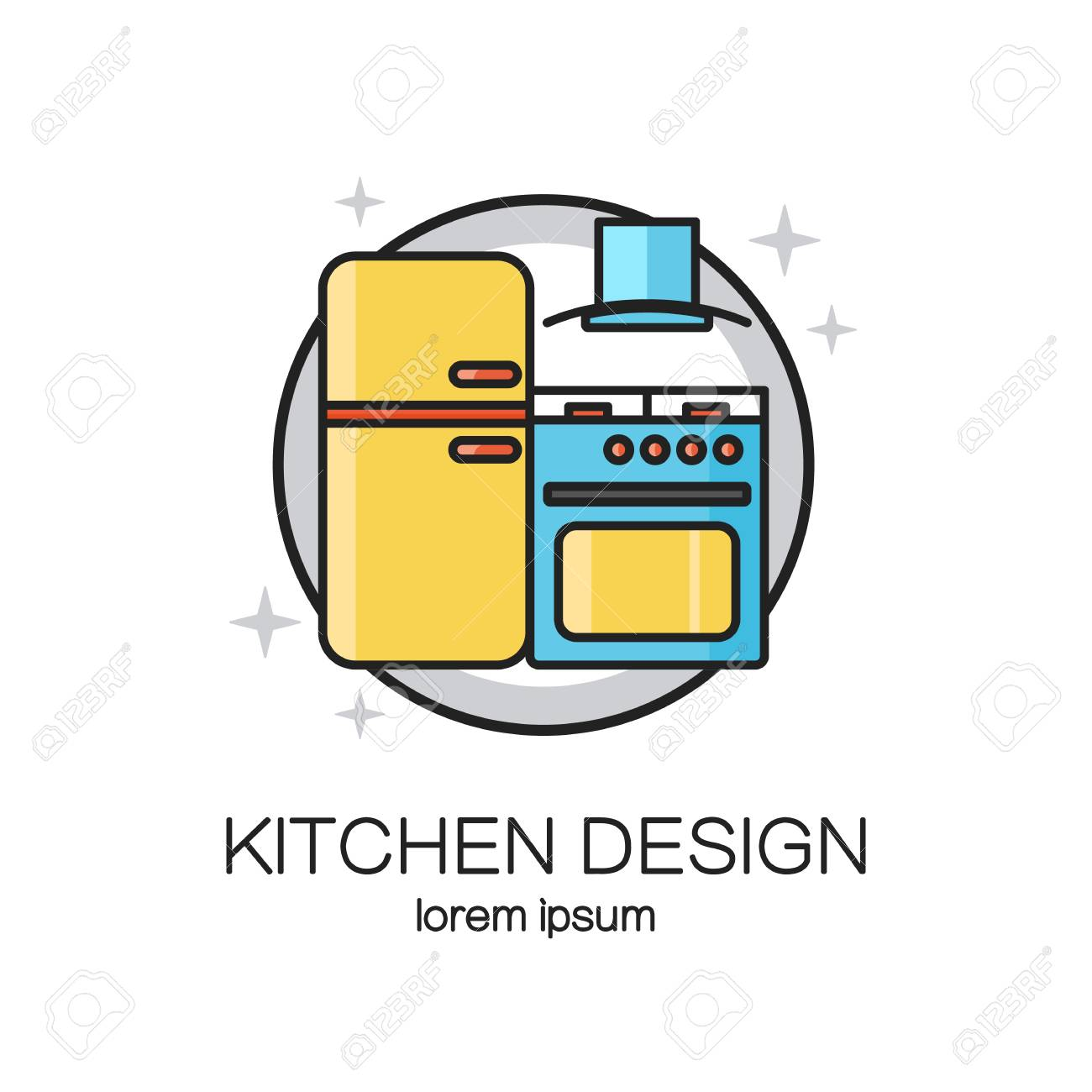 kitchen design line icon web template royalty free cliparts, vectors