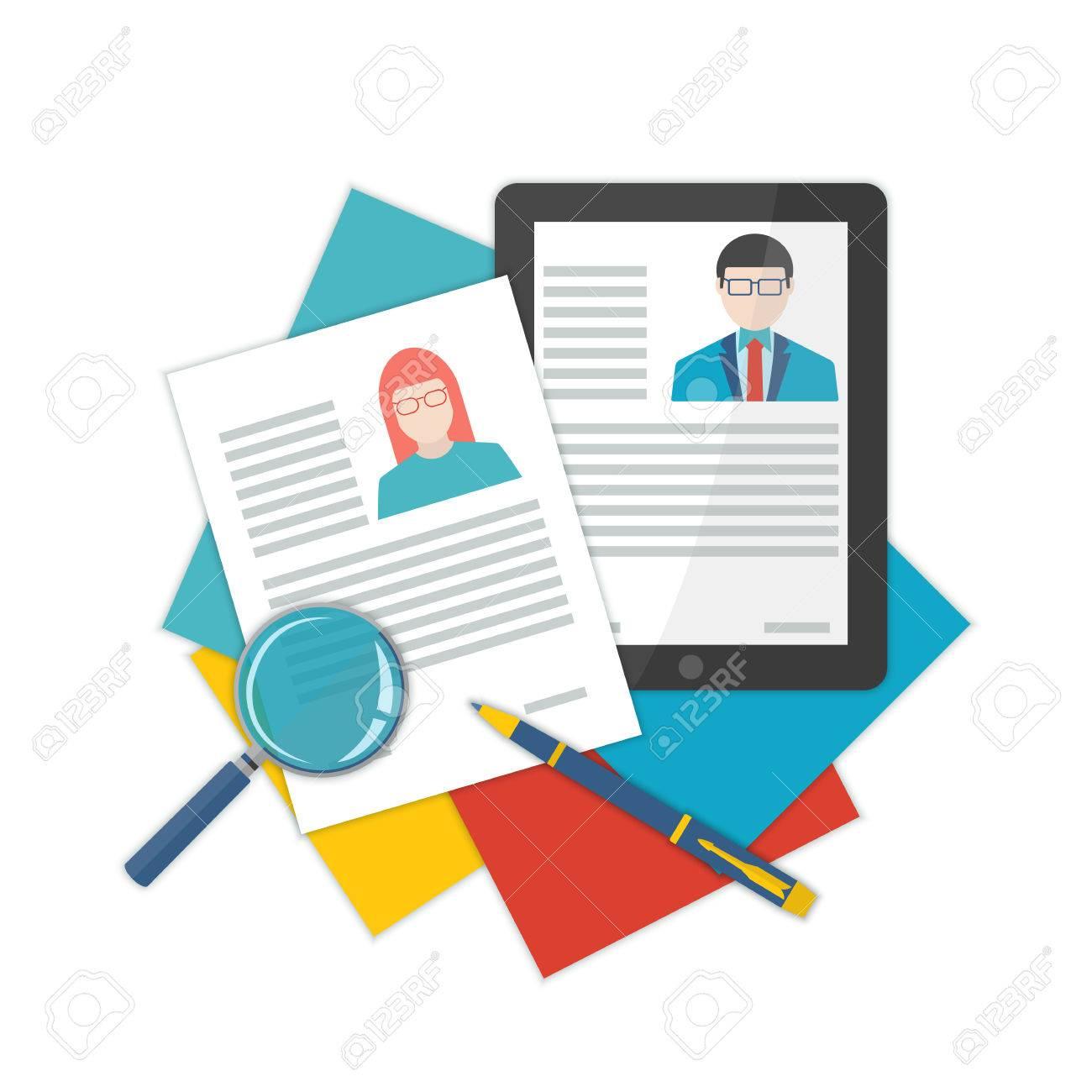 Flat Design Illustration Curriculum Vitae Recruitment Candidate