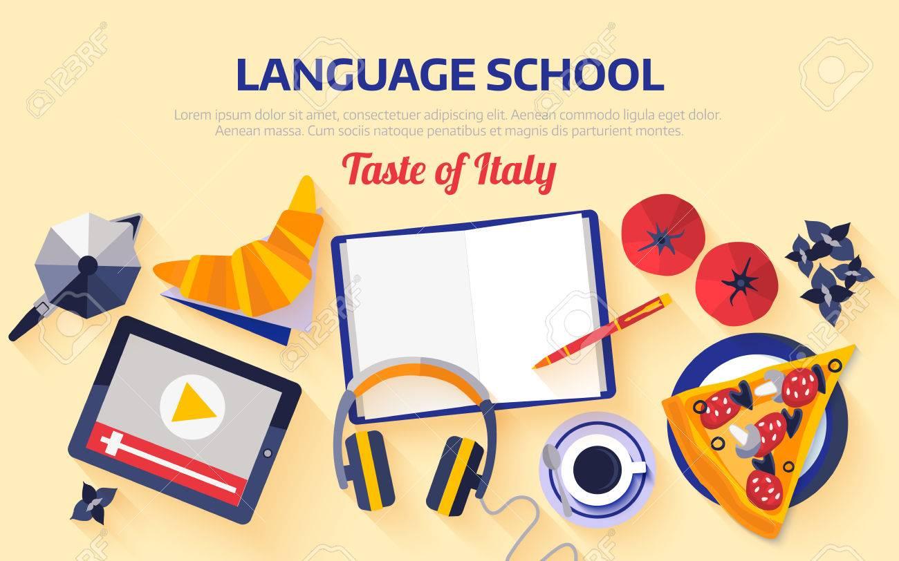 Flat design web banner for italian language school. - 70287331