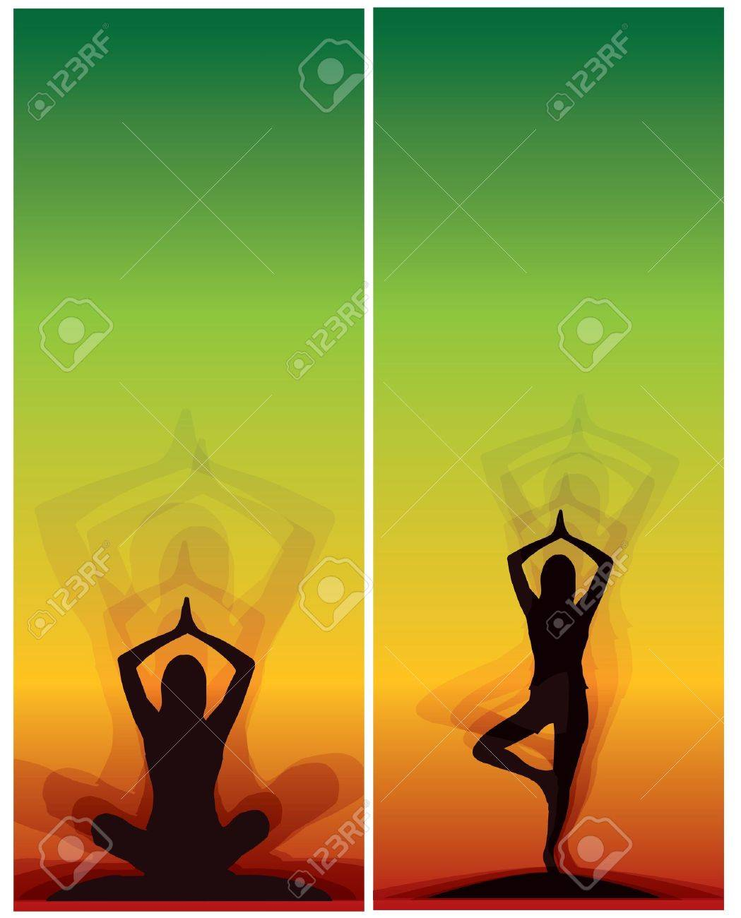 Yoga Meditation Bookmarks Bookmark Banner Stock Vector
