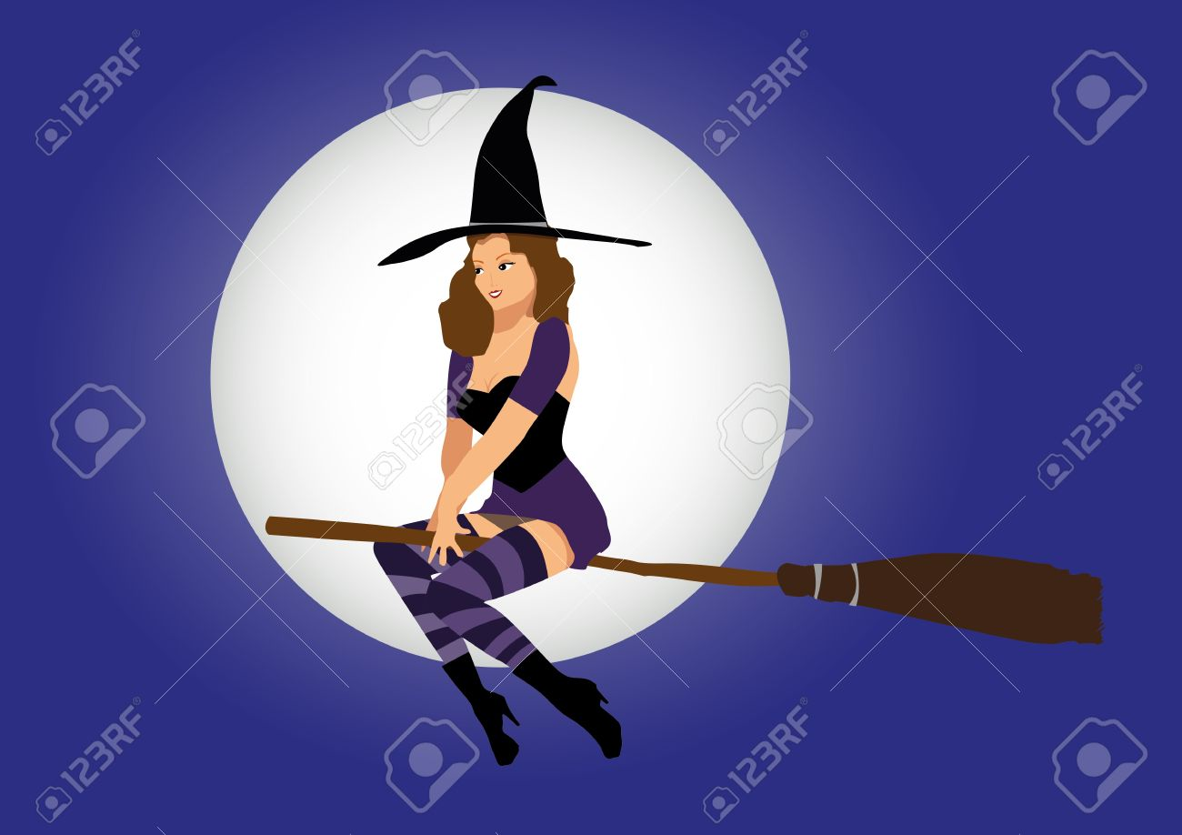 sexy witch flying on broom Stock Vector - 18241208