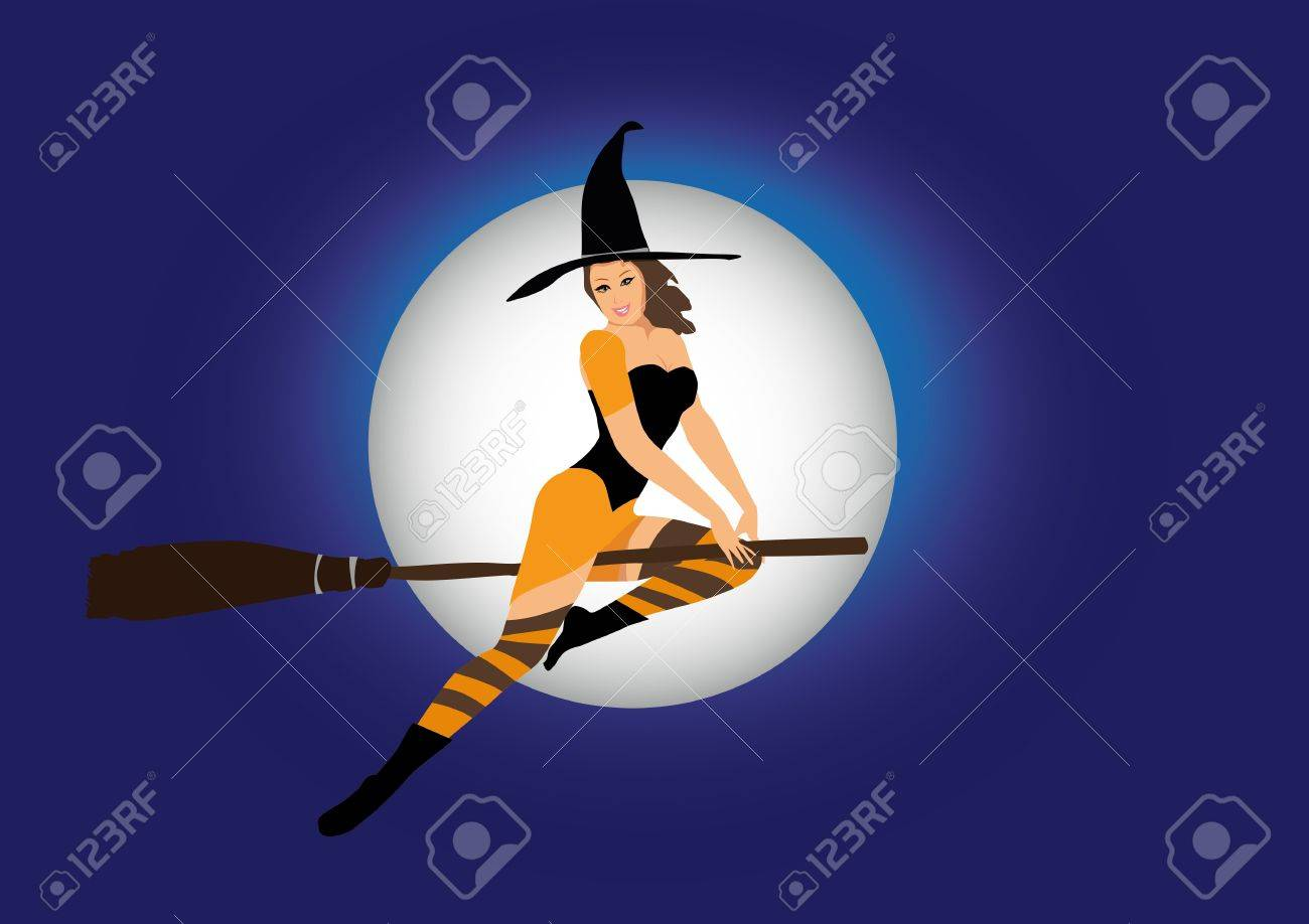 sexy witch flying on broom Stock Vector - 18241207