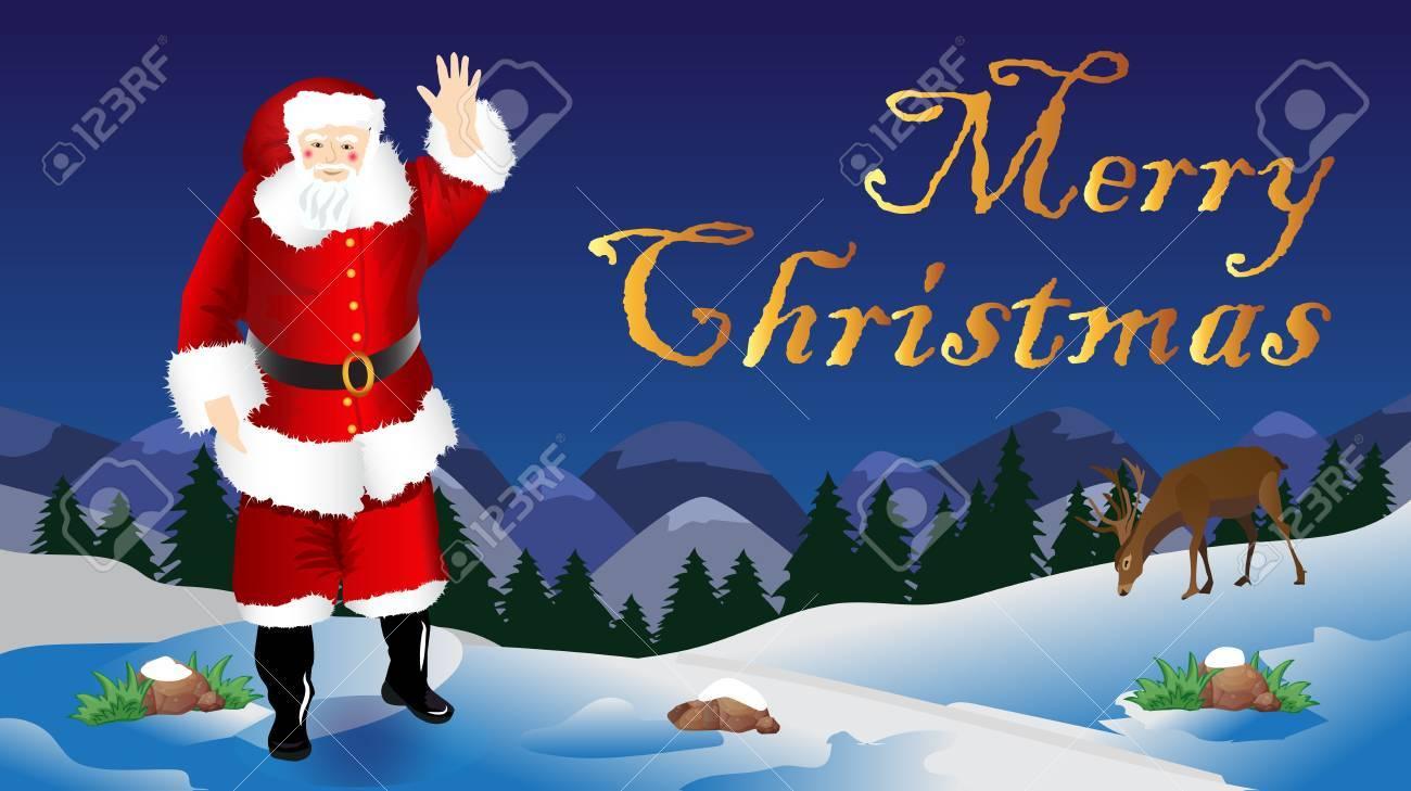 Wünsche Für Weihnachtsszene Mit Weihnachtsmann Lizenzfrei Nutzbare ...