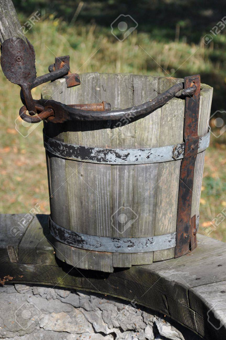 Wooden Empty Bucket At The Well A Symbol Of Drought And Poverty