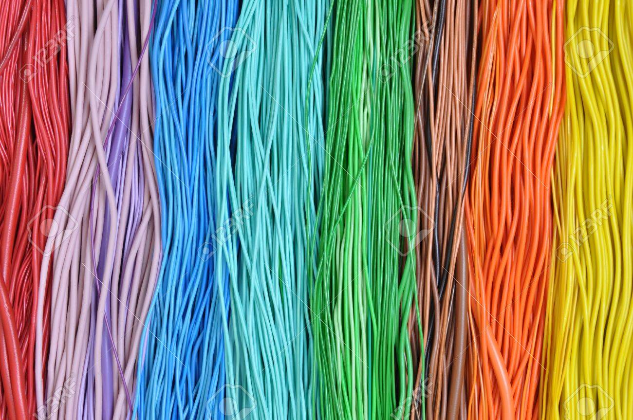 Multi-colored Wires In Computer Networks Stock Photo, Picture And ...
