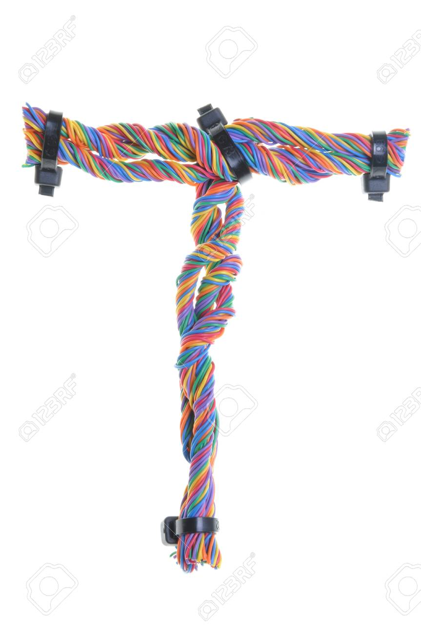Colorful Wire In The Shape Of The Letter T Stock Photo, Picture And ...