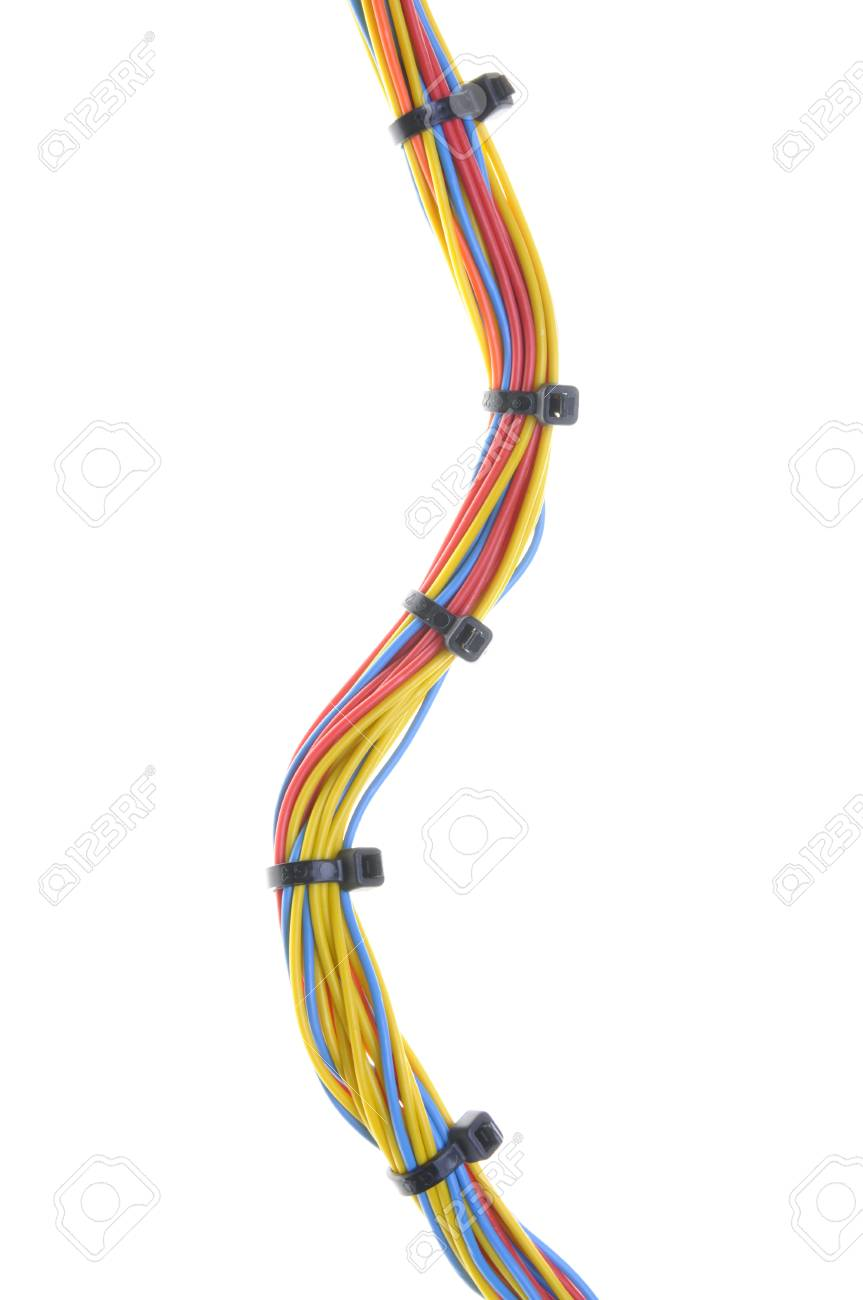 Electrical Wires With Cable Ties Isolated On White Background Stock ...