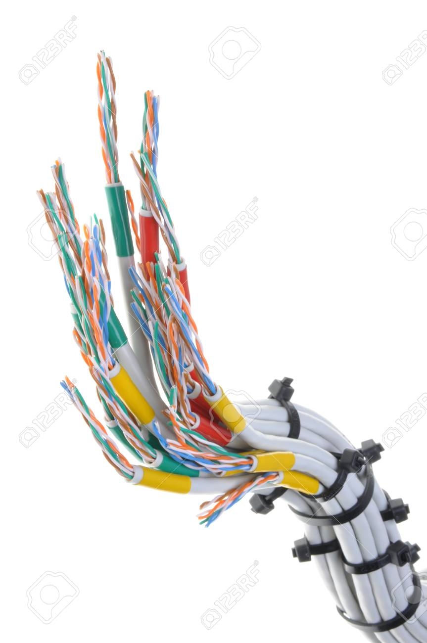 Computer Network Cables With Cable Ties On White Background Stock ...