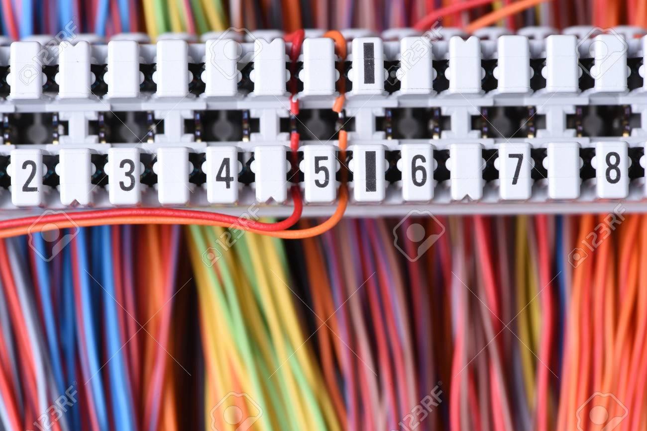 Telekommunikationsgeräte, Hauptverteiler Mit Kabel, Nahaufnahme ...