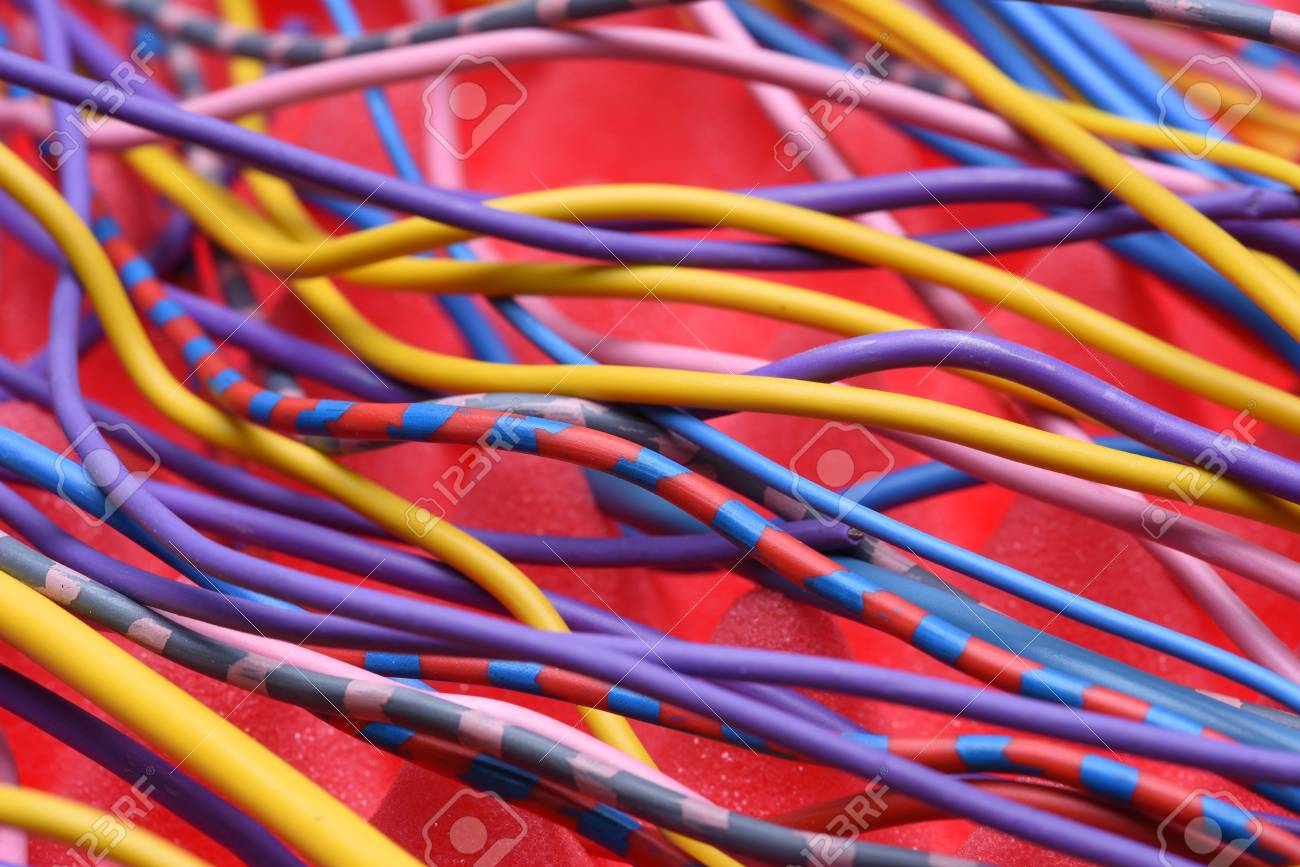 Colored Electrical Cables And Wires Stock Photo, Picture And Royalty ...