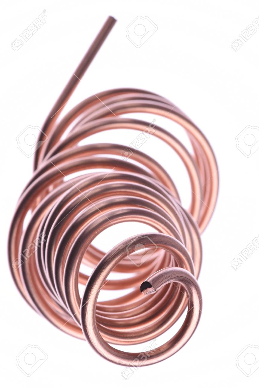 Spiral Copper Wire Isolated On White Background Stock Photo, Picture ...