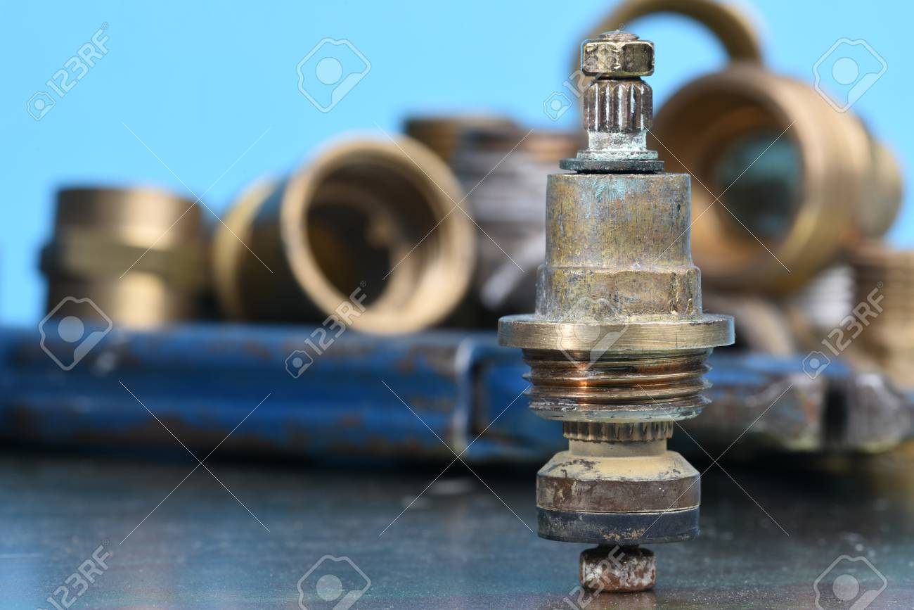 Plumbing Parts And Repair Old Brass Tap Valve Stock Photo, Picture ...