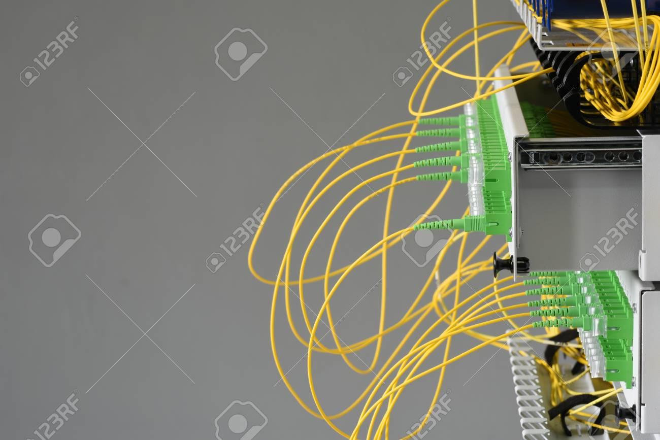 Fiber Optical Distribution Panel Switch With Cables In Server Network Wiring Diagram Room Stock Photo 96356704