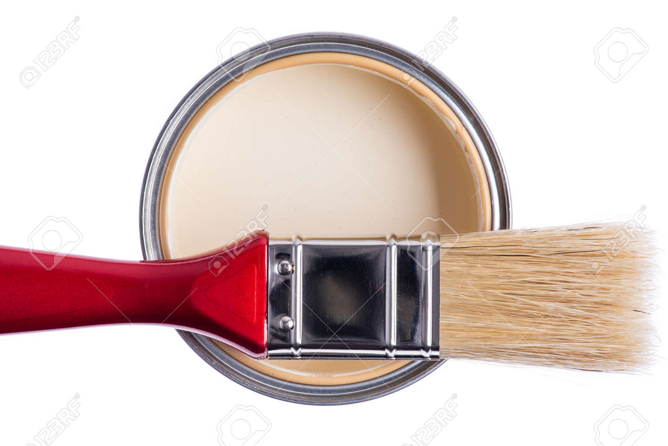 Paint can with brush tool isolated on white background, directly above view - 149689549