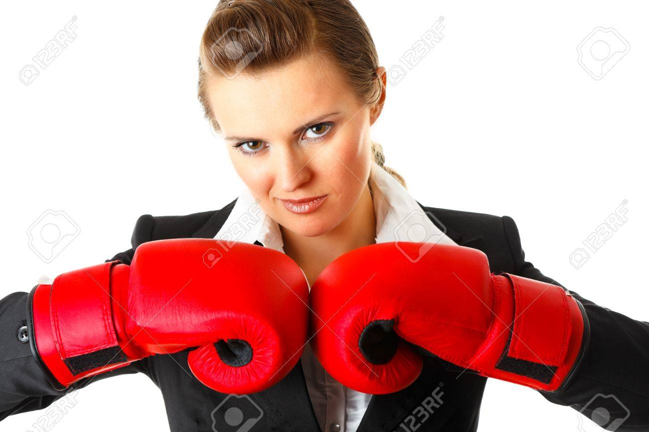 Confident modern business woman with boxing gloves isolated on white Stock Photo - 8343835