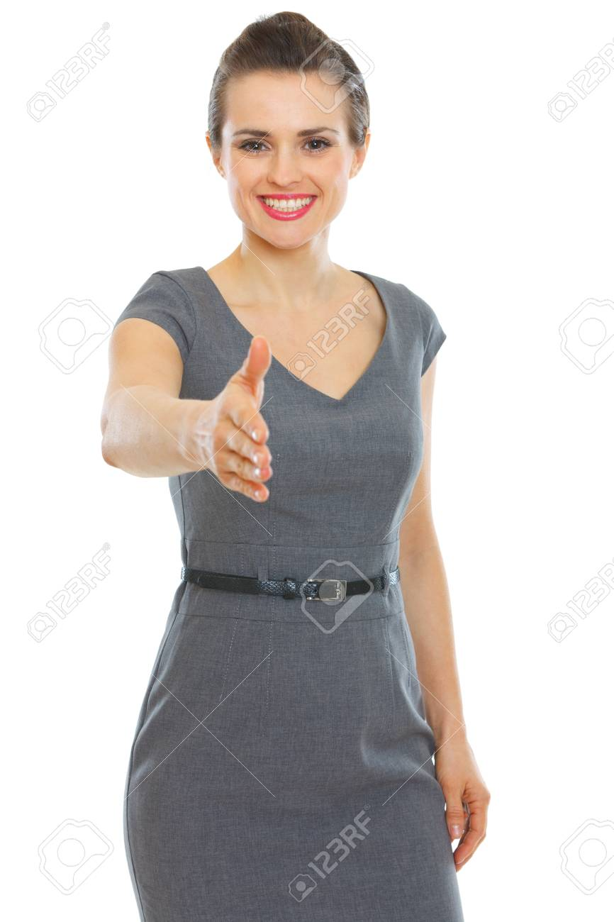 Business woman stretching hand for handshake Stock Photo - 12356666