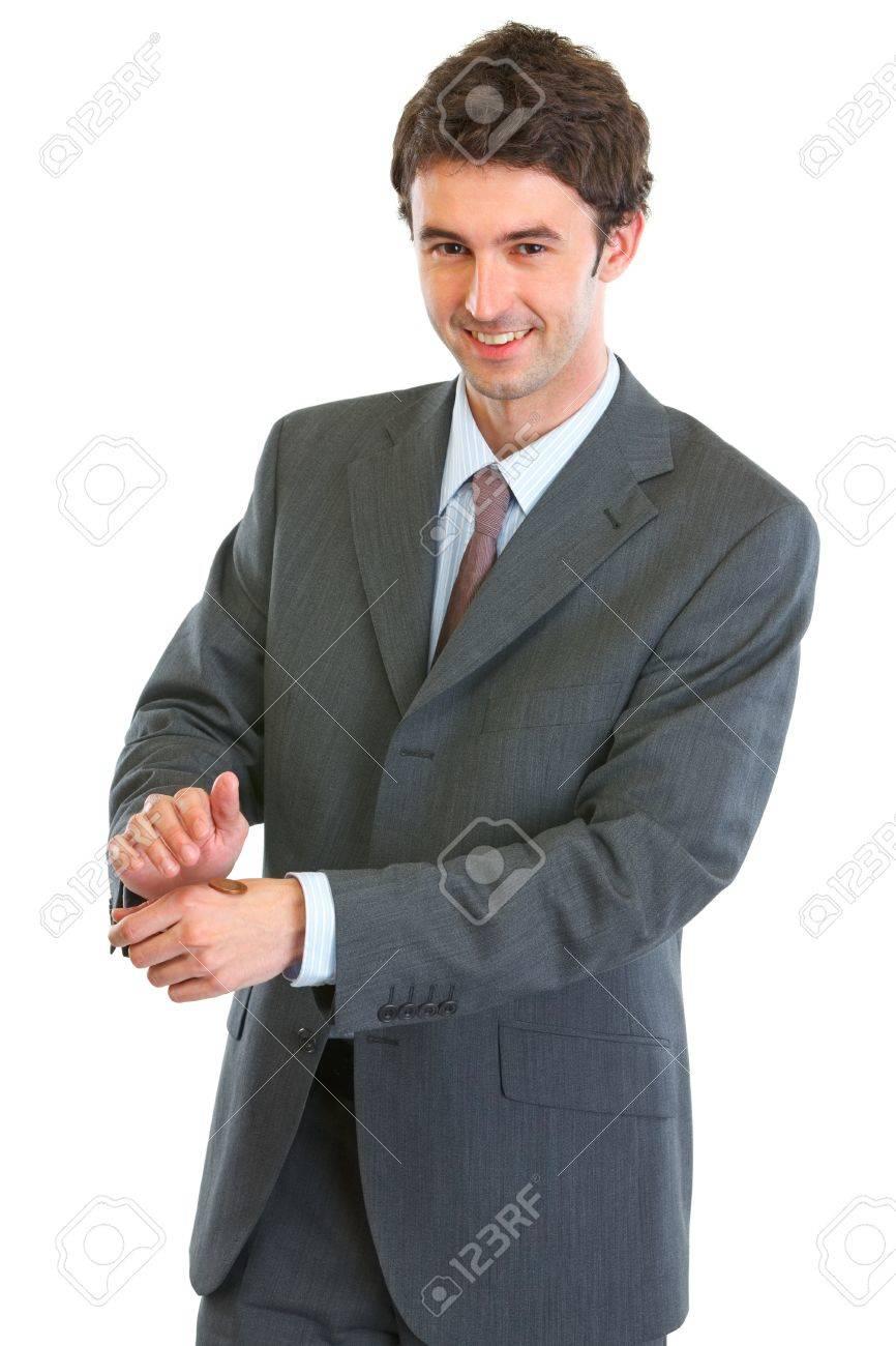 Moderne Business Mann Der Geworfenen Münze Lizenzfreie Fotos