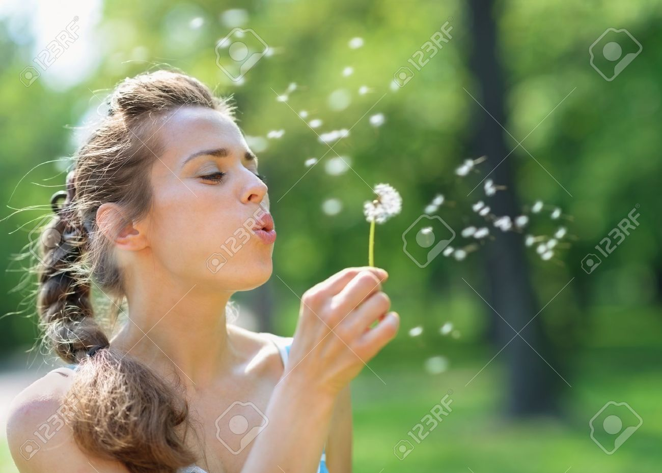 Young woman blowing away dandelion Stock Photo - 13611605